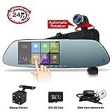 Dual Mirror Dash Cam 1080P 32G SD Card Car Video Camera,360°Auto-Rotation Lens,Exclusive Ultrasonic Object Sensor Hardwire Kit 24H Parking Monitor