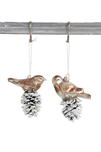 Birds on Snowy Pinecones Glass Hanging Christmas Ornament -
