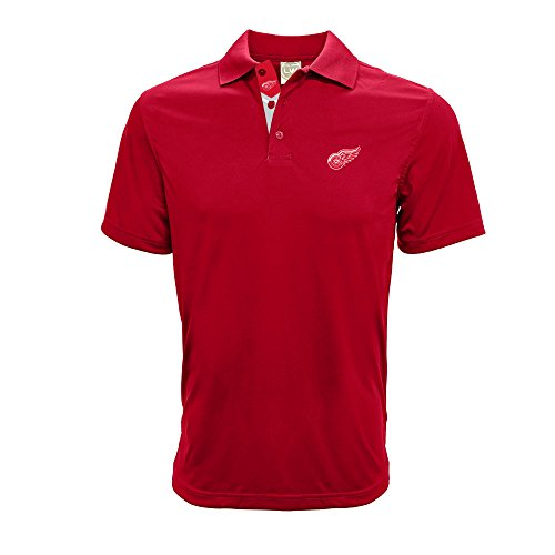 Levelwear NHL Detroit Red Wings Men's Helium II Team Banner Polo, Medium, Flame Red