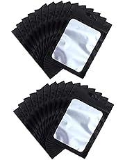 Ziplock Mylar Väskor, Matförvaringspåsar Med Klart Fönster Kaffebönor Förpackningspåse För Mat Självförsegling 9 * 16 Svart