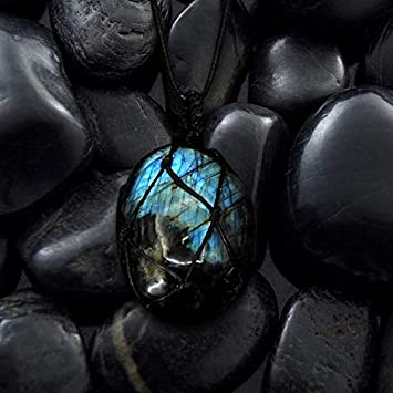 AJESLU Labradorita Collar Piedra Natural Colgante Wrap Braid Collar Yoga Macrame Collar para Hombres Mujeres Collar De Energía