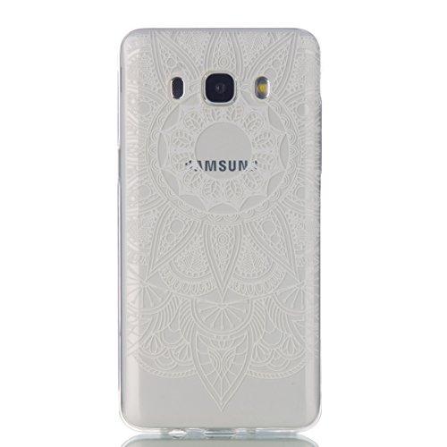 Funda para Samsung Galaxy J5(2016), Ukayfe Suave Carcasa Caso Parachoques Diseño pintado Patrón para Samsung Galaxy J5(2016),Funda Case Lujo Premium Bling Caja PC Dura Ultra Fina Cubierta Matt Glitter Girasol-Blanco