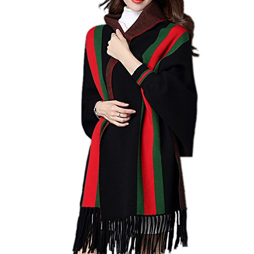 Rexury Women's Open Front Bat Sleeve Knitted Tassel Shawl Cardigan Sweater Jacket