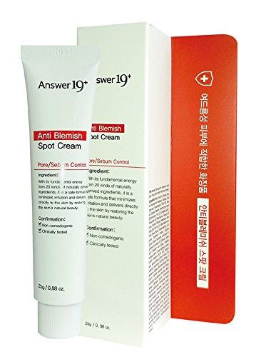 [ANSWER NINETEEN+] Anti Blemish Spot Cream – Unblemished Acne Spot Treatment, Acne Removal Treatment, Reduces Blemishes, Acne Spots, Blackheads and Breakouts, 25g / 0.88 fl. Oz