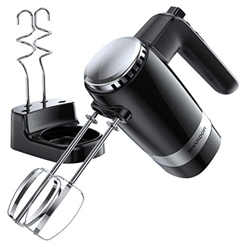 SHARDOR Hand Mixer Electric with 4 Stainless Steel Attachments (2 Beaters,2 Dough Hooks) and a Storage Case, Handhold Kitchen Mixer,Black