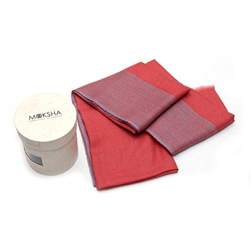 100% Cashmere Stole Lightweight, Diamond-Woven Pattern, Mongolian Cashmere (100/2 Yarn Composition) , Pink © Moksha Cashmere by Moksha Cashmere