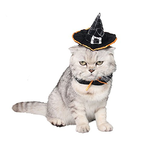 Mummumi Pet Halloween Magic Witch Black Hat Pet Wizard Headwear for Cats & Small Dogs Cosplay Party Accessories Costume]()