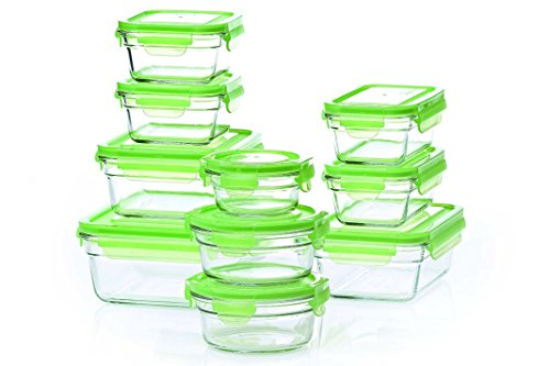 Tempered Glasslock Storage Containers 20pc set Green Lids Mi