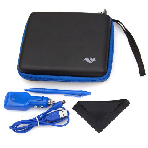 Nintendo 2ds Accessory Travel Pack / Case with Car Charger and USB Charging Cable: Black/blue (Butterfox)