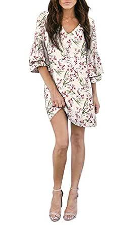BELONGSCI Women's Dress Sweet & Cute V-Neck Bell Sleeve Shift Dress Mini Dress (Apricot Bamboo Leaf, XS)
