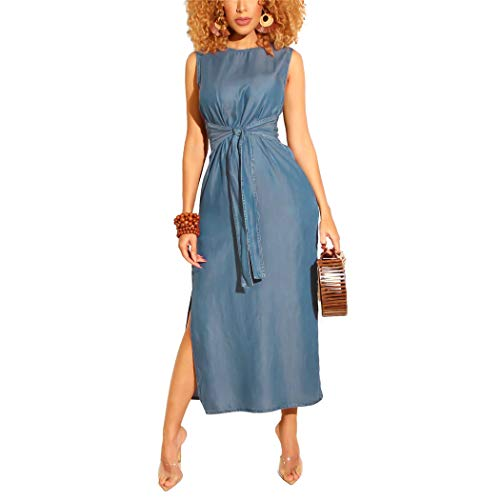 Adogirl Womens Summer Sleeveless Denim Dresses - Sexy Slit Bodycon Midi Dress Slim Tie Belt Blue Jean Dresses