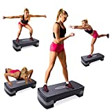 "JAXPETY New 27"" Fitness Aerobic Step Adjust 4″ – 6″ Exercise Stepper w/Risers Home Gym"