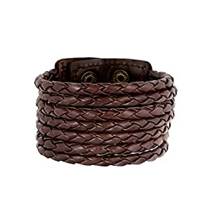 Zivom® Chocolate Brown Adjustable Leather Bracelet For Men