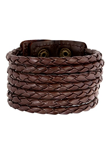 ZIVOM Chocolate Brown Adjustable Leather Bracelet for Men
