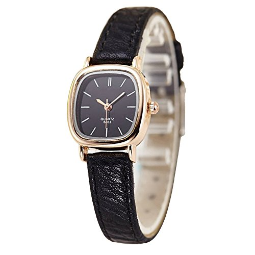 Women Gold Dial Leather Strap Watch Black - 2