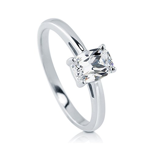 BERRICLE Sterling Silver Cushion Cut Cubic Zirconia CZ Solitaire Womens Engagement Wedding Ring