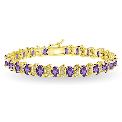 Gemstone Amethyst Gold Bracelets - GemStar USA Yellow Gold Flashed Sterling Silver African Amethyst 6x4mm Oval and S Tennis Bracelet with White Topaz Accents