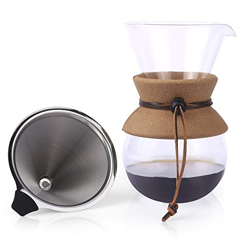 Clover Coffee - Apace Living Pour Over Coffee Maker - 2019 Edition - Elegant Coffee Dripper Brewer Pot w/Glass Carafe & Permanent Stainless Steel Filter (27 oz)