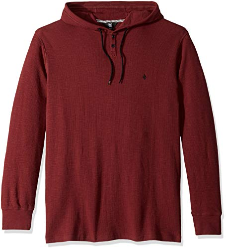 Volcom Men's Murphy Long Sleeve Hooded Thermal Shirt, Bordeaux Brown Extra Extra Large