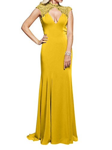 Gelb Standsamt Lang Abendkleider La Ausschnitt V mia Kleider Braut Meerjungfrau Partykleider Sexy Rock Festlichkleider wgCPOqP0