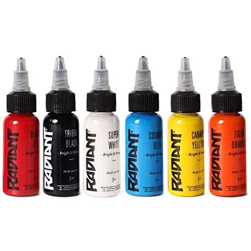 Radiant Tattoo Ink 6 Popular Color Kit Set 1/2oz Bottle