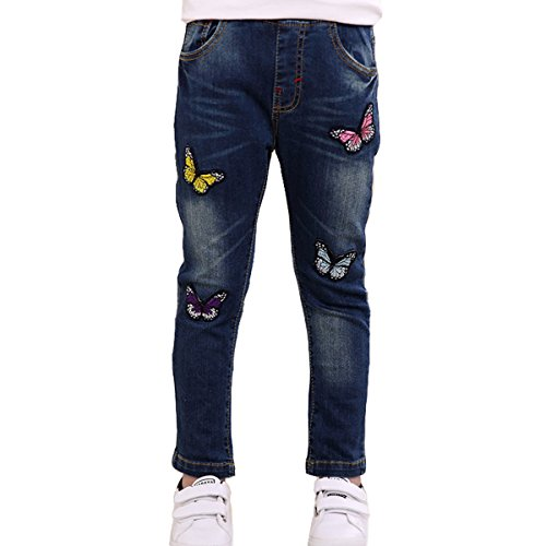 NABER Kids Girls' Slim Fit Butterfly Elastic Waist Washed Denim Jeans Age 4-13 Years (4-5 Years) ()