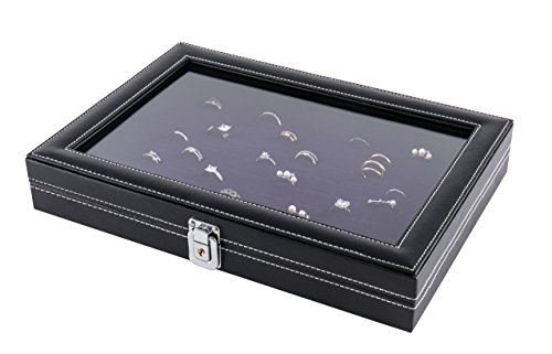 JackCubeDesign Jewelry Ring Display Organizer Storage Box Case Tray Holder with 100 Slot Ring Display and Glass Cover(Black, Inside Purple Velvet, 13.3 x 9.3 x 2.1 inches)- :MK376B ()