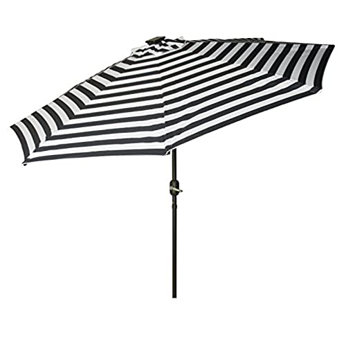 Captivating Trademark Innovations Deluxe Solar Powered LED Lighted Patio Umbrellas, 9u0027,  Blue Striped