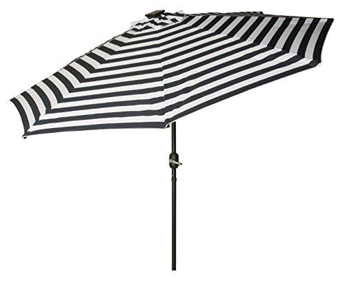 Trademark Innovations Deluxe Solar Powered LED Lighted Patio Umbrellas, 9', Blue Striped (Umbrella Blue Striped)