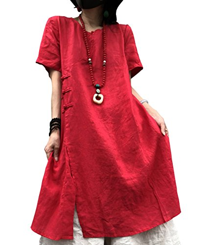 YESNO YB0 Women Casual Loose Blouse Dress 100% Linen Chinese Traditional Frogs Front Slit Short Sleeve Pockets]()