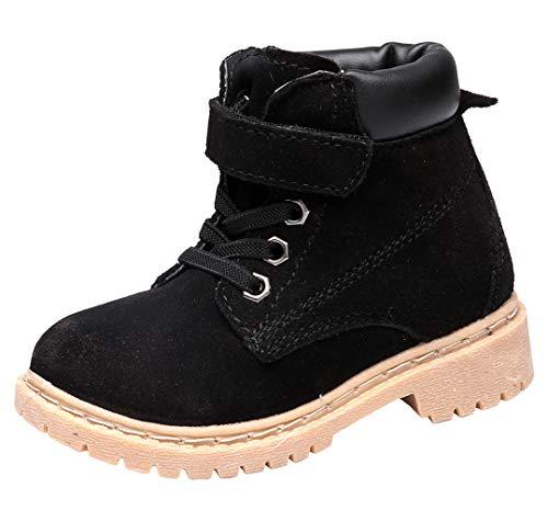 DADAWEN Boy's Girl's Classic Waterproof Leather Outdoor Strap Winter Boots (Toddler/Little Kid/Big Kid) Black US Size 2 M Little Kid -