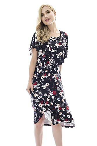 07e6f62b20ff13 Bearsland Women s Summer Floral Cloak Design Maternity Breastfeeding Dress  Nursing Dress