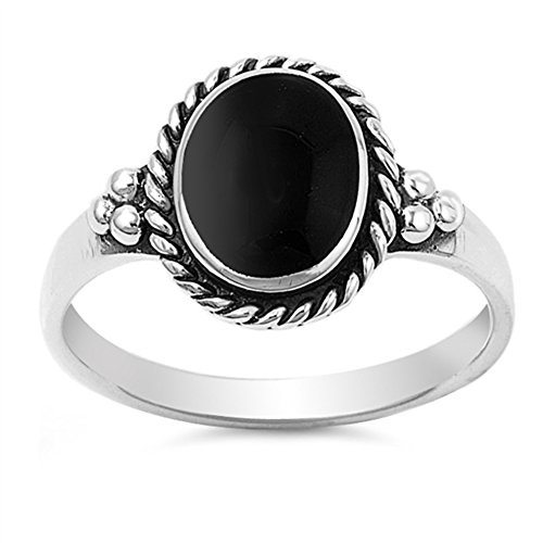 Simulated Black Onyx Oval Solitaire Rope Polished Ring 925 Sterling Silver Band Size 6 (Onyx Rope Ring)