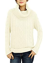 Women's Korean Design Turtle Cowl Neck Ribbed Cable Knit...