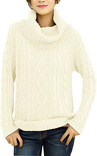 - v28 Women's Korean Design Turtle Cowl Neck Ribbed Cable Knit Long Sweater Jumper (White,M)