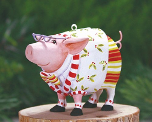 Patience Brewster Mini Norbert Dressed Up Pig Christmas Figural Ornament 08-30956