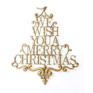 Extra Large Antique Gold Metal Scroll Sign We Wish You A
