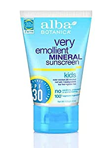 Alba Botanica Mineral Sun Care Kids Mineral Sunscreen, Fragrance Free for Sensitive Skin (SPF 30) 4 fl. oz. (a)