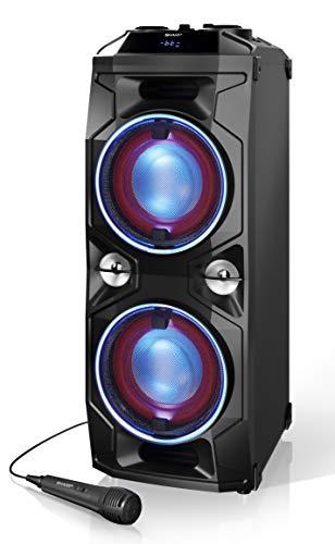 Sharp Ps 940 Partylluidspreker Met Dj-Mixer En Ingebouwde Accu, 14 Uur Afspeeltijd, 180 Watt, Zwart