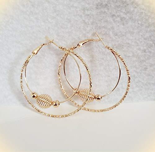 Double Hoop Gold Tone Oval Spring Ball 2 Inch Hoop Earrings for Women ()