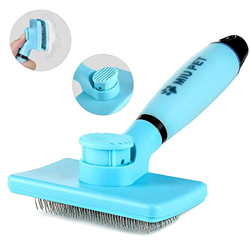 MIU PET Pet Self Cleaning Slicker Brush - Effectively Reduces Shedding by Up to 95% - Professional Pet Grooming Brush for Small, Medium & Large Dogs and Cats, with Short to Long Hair