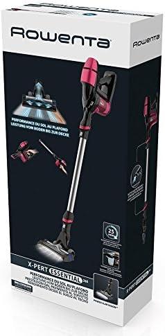 Rowenta X-pert Essential 260 RH7329 Aspiradora de Mano sin Cable, Cabezal con LED, batería de Ion-Litio 21,9 V, hasta 25 min, Dos cepillos, sin Bolsa, para Suelos, Zonas Altas, Base para Pared,