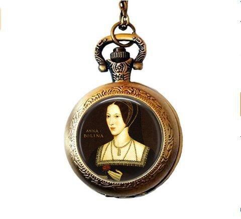 (Anne Boleyn Portrait Pendant Necklace - Henry VIII - Wives of Henry VIII - Tudor Jewelry - Anne Boleyn Picture Pocket Watch Necklace)