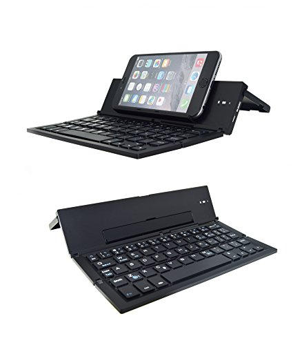 Folding Bluetooth Keyboard,Geyes Foldable Wireless Keyboard with Portable Pocket Size, Aluminum Alloy Housing, for iPad, iPhone,Android Devices, and Windows Tablets, Laptops and Smartphones by Geyes
