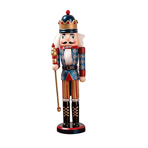 38CM Classic Style Nutcracker Puppet Glitter Powder Shimmer Bright Soldier Nutcracker Handmade Christmas Gift Desktop Ornament