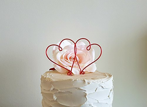 2 Hearts Wedding Cake Topper in RED Wire Finish, Wedding Cake Decoration by AntoArts