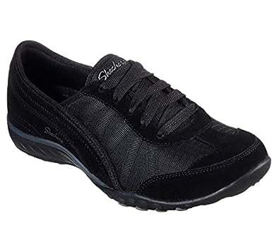 Skechers Women's Relaxed Fit: Breathe-Easy - Weekend Wishes Sneaker, Black, 7 W