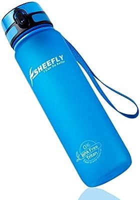 SHEEFLY Botella de Agua para Deportes-(500ml/1000ml)-No Tóxico, Sin BPA, a Prueba de Fugas, Plástico Tritan-Flujo Rápido, Tapa Abatible, Abierto con 1 ...