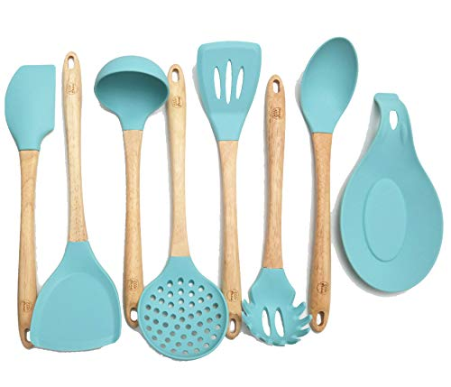 Premium Silicone Cooking Utensils Set, 8 Piece Kitchen Utensil Set with Natural Wood Handles, BPA Free Turquoise Silicone Utensils, Safe Cooking Tools for Non-stick Cookware, Best Kitchen Gift ()