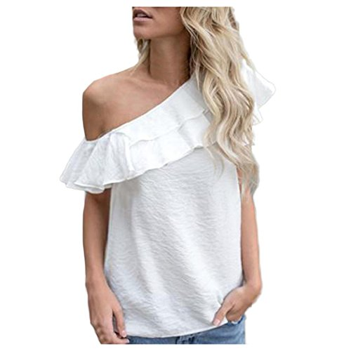 Inkach Women Summer Shirt, Chic Girls Loose One Shoulder Tops Blouse Shirt Summer Casual T-shirt One-side (M, White)